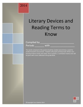 Literary Devices (Elements) and Reading Terms Packet