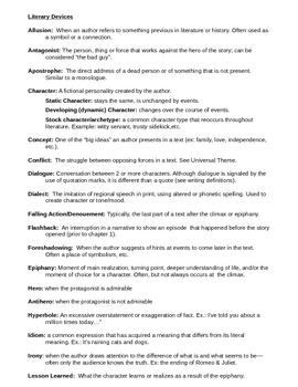 Literary Devices for Reading