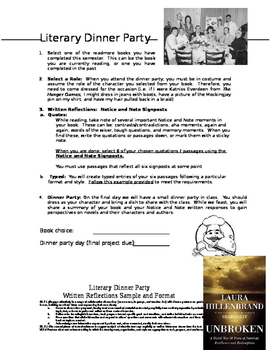 Literary Dinner Part (using Notice and Note Signposts)