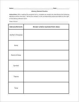 Literary Element Graphic Organizer By Littleton Curriculum Tpt