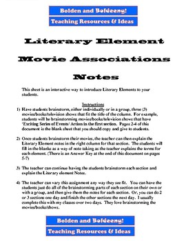 Literary Element Movie Association Notes