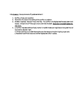 Literary Element Plot, Conflict, & Resolution worksheet CCSS RL & OK 4.2a 5th gr