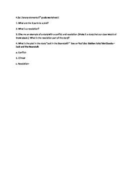 Literary Element Plot, Conflict, & Resolution worksheet CC
