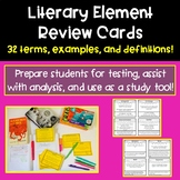 Literary Element Review Cards | ELA Test Prep