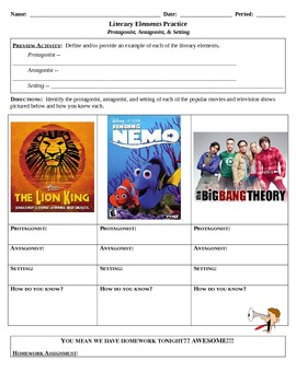 Literary Elements Activity (w/ Homework) -- Protagonist, Antagonist, & Setting