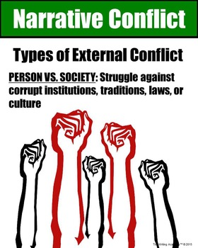 Literary Elements Conflict Person vs. Society Poster