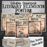 Literary Elements Editable Posters & Flashcards - Steampunk Style