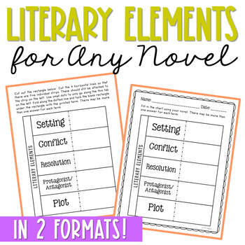 Literary Elements FREEBIE for Novel Units and Interactive Notebooks