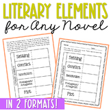 LITERARY ELEMENTS Activity for Novel Units and Interactive Notebooks | FREE!