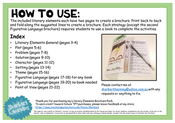 Literary Elements Features Comprehension Brochures - perfect for CAFE reading
