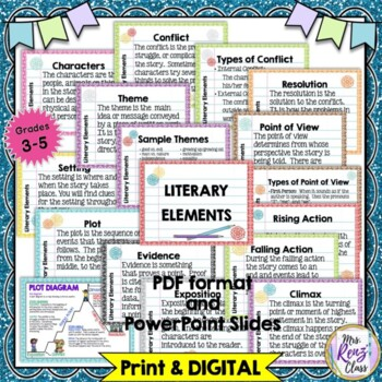 Literary Elements Posters & Story Elements Flip Book Reference Helper BUNDLE