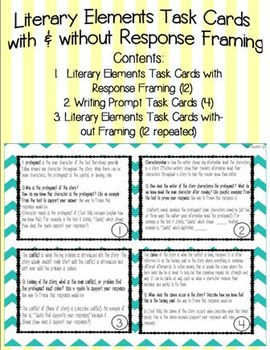 Literary Elements Task Cards with Optional Response Framing