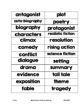 Literary Elements & Genre Matching Cards