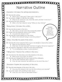 Literary Elements Graphic Organizer and Narrative Outline Checklist
