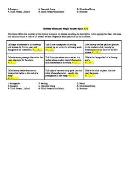 Literary Elements Magic Square Quiz
