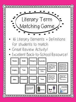 Literary Elements Matching Game By Celebrating Secondary Tpt