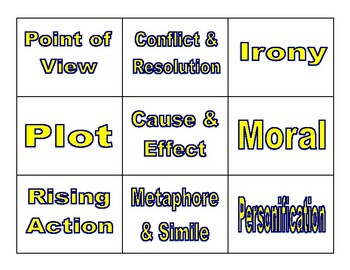 Literary Elements Memory Game