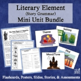 Literary Elements Complete Mini-Unit: Flashcards, Quizzes, Worksheets, Lessons
