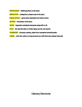 Literary Elements Notes, Project & Test