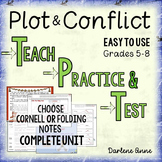 PLOT & CONFLICT POWERPOINT & NOTES: TEACH, PRACTICE, TEST- MIDDLE SCHOOL ELA
