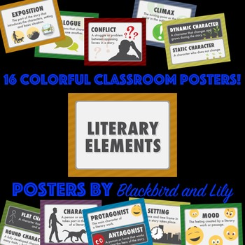 Literary Elements Poster Pack Definitions And Graphics For Key Terms