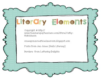 Literary Elements Poster Set - Plot, Setting, Characters, Point of View, etc