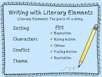 Literary Elements PowerPoint Presentation {Story Elements & Writing Tips}
