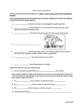 Literary Elements Quiz By Wendy Hill Teachers Pay Teachers