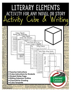 Literary Elements Activity Research Cube with Writing Extensions (English)