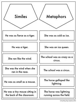 Similes and Metaphors Worksheets by The Productive Teacher | TpT