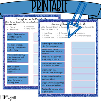 Literary Elements Summer Review- Digital AND Printable