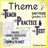 Teaching Theme PowerPoint, Guided Notes, Practice Worksheets & Test