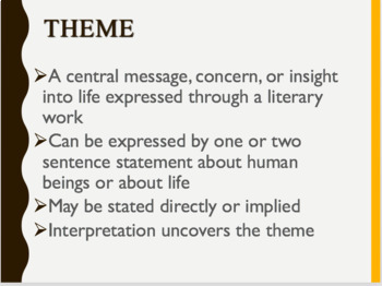 Short Story Elements & Theme -Setting, Conflict, Plot, Characterization PPT