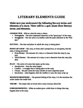 Literary Elements Unit and Test