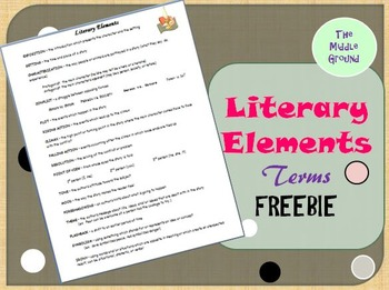 Literary Elements Terms FREE