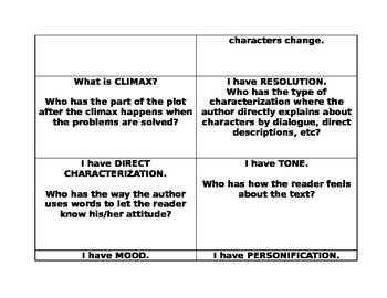 Literary Elements game: I have who has?