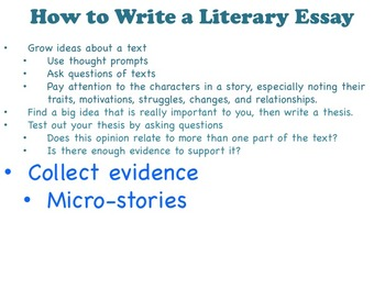 Literary Essay - A TC Aligned Fiction Writing Unit - Bend 1