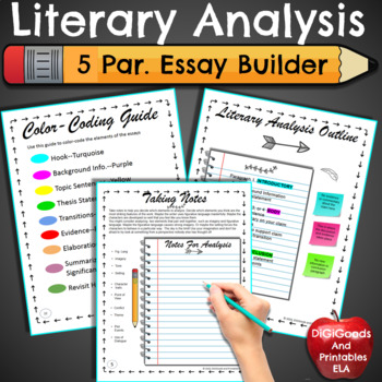 Literary Analysis 5 Paragraph Essay Distance Learning