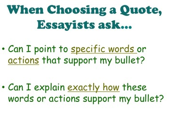 Literary Essay - Citing Textual Evidence