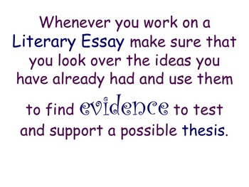 Literary Essay - Finding and Testing a Thesis