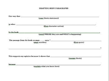 Literary Essay Graphic Organizer for Differentiation