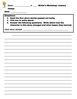Literary Essay Introduction Activity