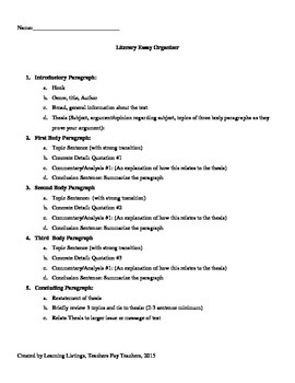 literary essay outline by learning listings  teachers pay teachers