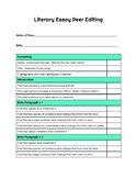 Literary Essay Peer Editing Checklist