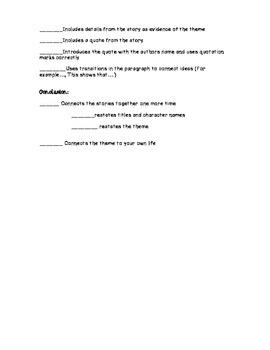Literary Essay Student Checklist