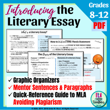 Literary Essay Toolbox For Middle  High School By Literacy Toolbox Literary Essay Toolbox For Middle  High School