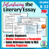 Literary Essay Graphic Organizers & Instructions for Middle & High School