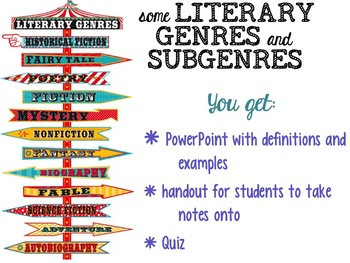 Literary GENRES and SUBGENRES - Powerpoint, Plenty of Examples, Handout, & Quiz!