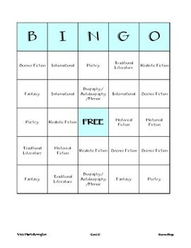 Literary Genre Bingo Cards