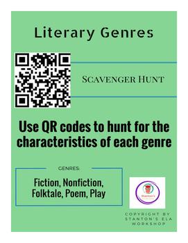 QR Code Genre Scavenger Hunt (Fiction, Nonfiction, Folktale, Poem, Play)